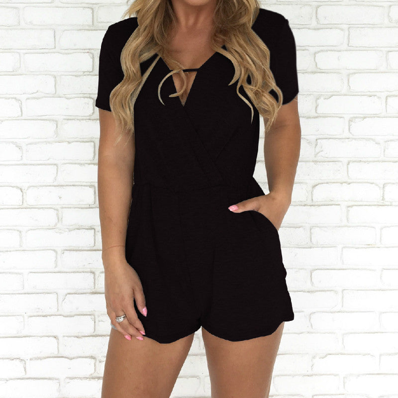 3c1c6ca711 ... Summer Women Playsuits Sexy Casual Rompers 2018 New Solid Short V-Neck  Short Sleeve Jumpsuits ...