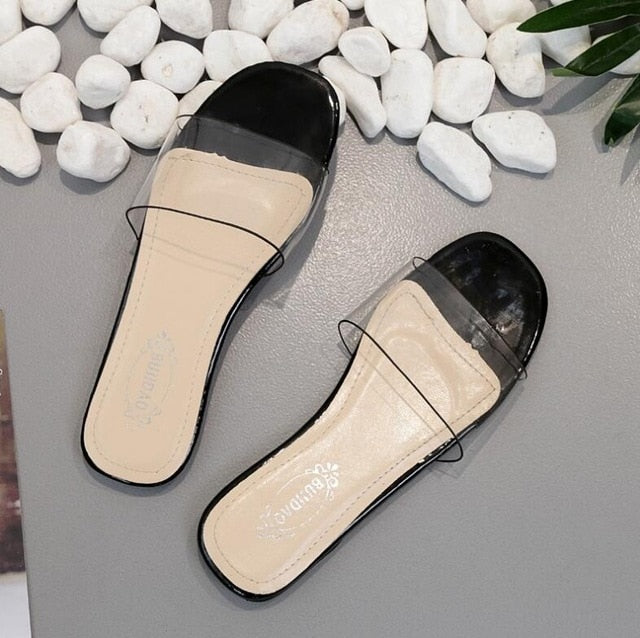 5793aab54 Summer Women Sandals PVC Flat Slippers Girls Flip Flops Crystal Clear  Transparent Sandals Cool Beach Jelly. Hover to zoom
