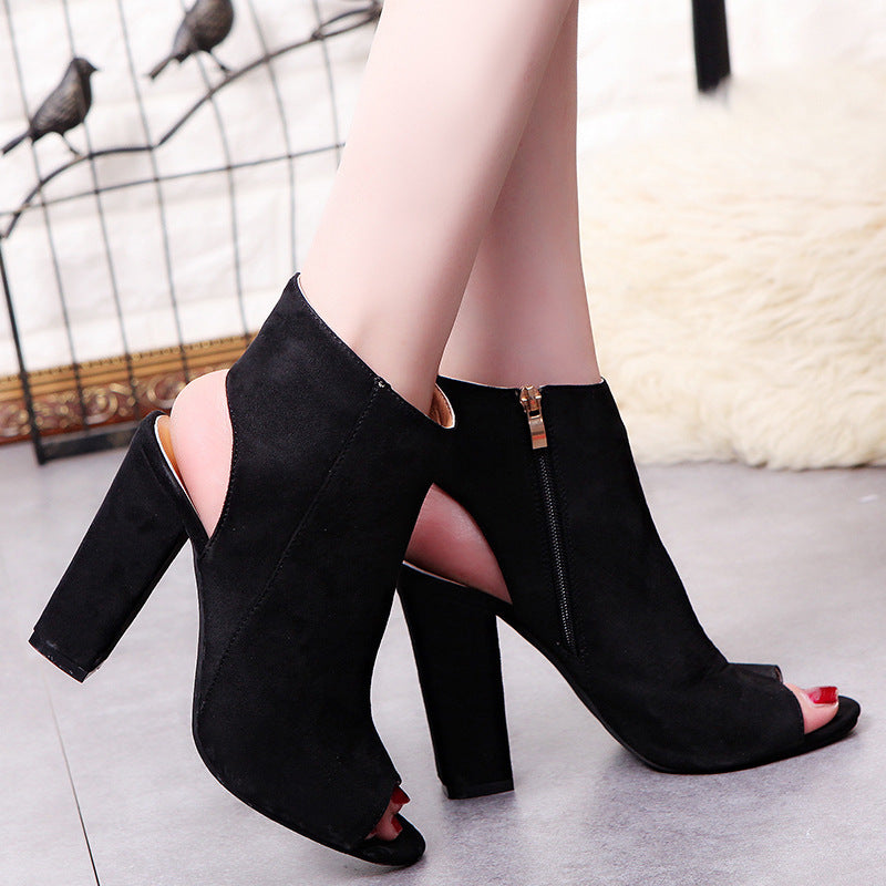 65841ff4a2e6 Hover to zoom · Summer Women Sexy Pumps Suede High Heels Sandals Slingback  Zip Ankle Boots woman heel ...
