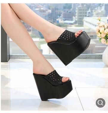 ec4711e978f9 ... Image of Summer Women Shoes High Heel 15CM Platform Slippers Fashion Casual  Hollow Out Shoes Ladies