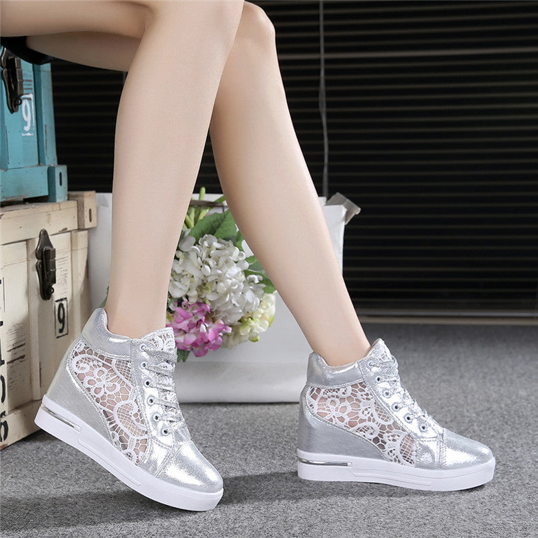 ... Summer Women Shoes Woman Breathable Mesh Sneakers Flats Lace Loafers  Elevator Shoes Platform Wedges Ladies Creepers ... b10f6cc49005