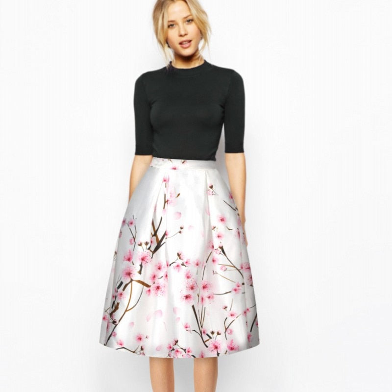 1b4fef5f9cff Hover to zoom · Summer Women Skirt Vintage Peach Blossom Plum Blossom Floral  Print High Waist Gown Pleated Midi Skater