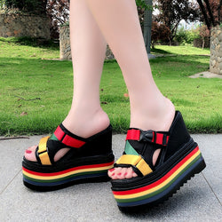 Summer fashion wear women's slippers 2018 new wild super high with 15CM platform slippers