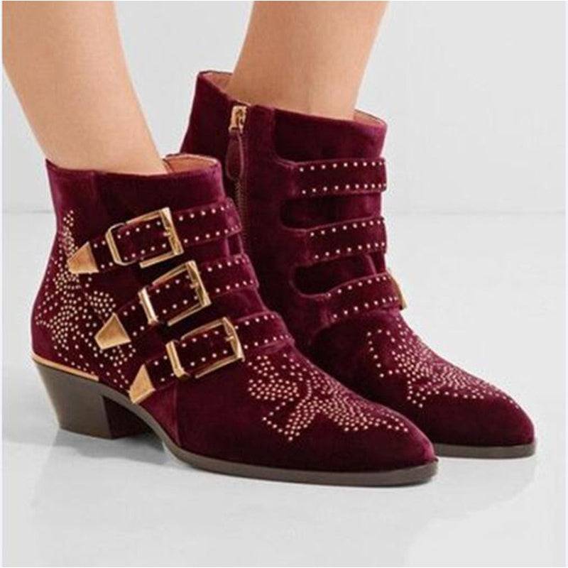 a2444706967f3 Hover to zoom · Susanna Rivets Embroidered Black Leather Ankle Boots Med Chunky  Heel Celebrity Fashion ...