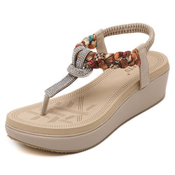 Sweet Brand Women Shoes Woman Sandals Basic PU Elastic Band Bordered Back Strap Wedges Crystal Ethnic Leisure A817A