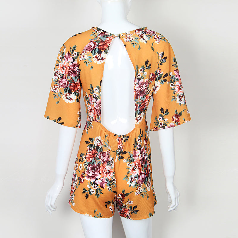 8bf69a2606 ... Sweet Floral Print Women Playsuits Sexy Jumpsuit Shorts 2018 Half  Sleeve Party Beach Summer Playsuit Sexy ...