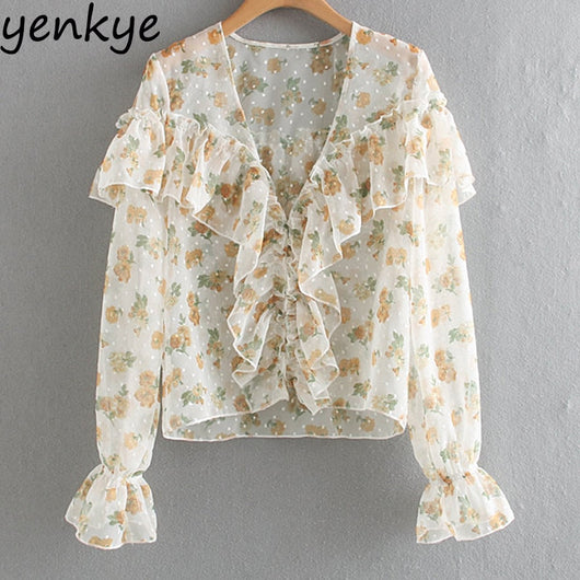 Sweet Women Chic Floral Print  Ruffle Blouse Modern Lady V Neck Long Sleeve Sexy Semi-sheer  Summer Tops  XNGC9495