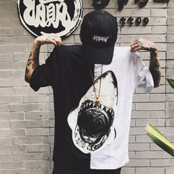T-shirt Men Dangerous Big Shark Printed Short Sleeve Tee shirt Fashion Street Hip Hop Creative Tops Couples T shirts L172