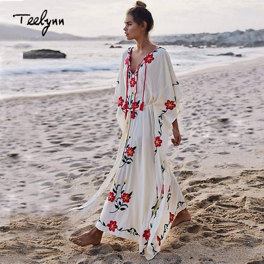33a8f65225db ... TEELYNN maxi boho dress Floral Embroidery maxi dresses 2018 rayon v-neck  chic loose dresses ...