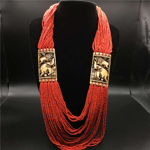 TNL378 Tibetan Yak bone Hand Carved Elephants Necklace Tibet Ethnic Jewelry