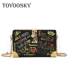TOYOOSKY Fashion Handbag Women Evening Party Shoulder Bags Lock Letter Graffiti Crossbody Bag Ladies Hard Case Box Clutch Bag