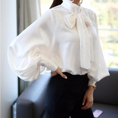 65fa86d7ebedee Image of TUHAO 2018 White Bow Tie Blouses for Woman Chiffon Women Office Shirt  Lantern Sleeve ...