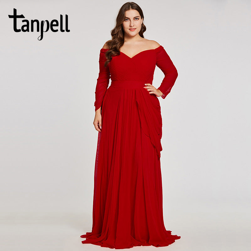 ec9c8cd61e Tanpell off the shoulder evening dress red 3/4 length sleeves a line gown  women pleated floor length formal plus evening dresses