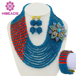 Teal Blue Orange Nigerian Wedding African Beads Jewelry Set Costume African Jewelry Sets Bridal Beads Set Free Shipping GS108