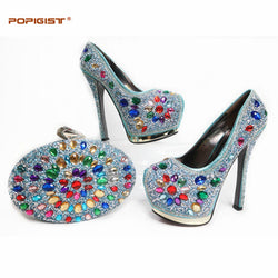 Teal Color 2017 Latest Woman's Shoes And Bag Set Hot Sale Fashion African Super High Heels Pumps with Purse for Sale