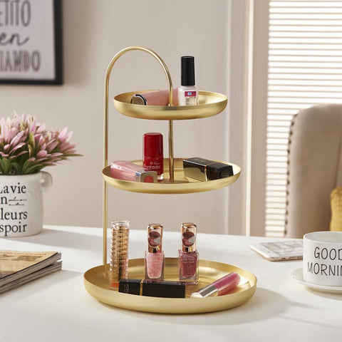 Image of Three Tier Golden Metal Storage Tray for Jewelry Necklace Bracelet Earring Watch Entrance Key Holder Dressing Table Organizer