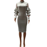 Tilapia butterfly sleeve fashion women sexy dress long sleeve mesh solid pencil vestidos bodycon knee length party mujer