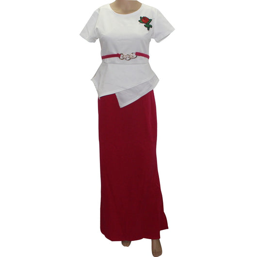 Tilapia fashion brand sexy women set irregular top and long skirt appliques rose slim solid casual summer women sets