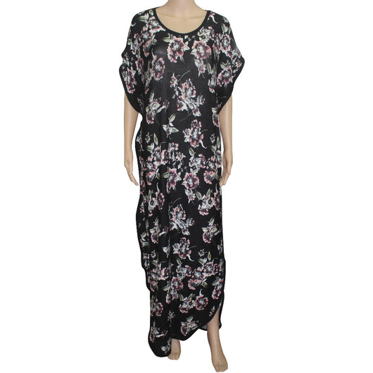 Tilapia hot sale vintage design floral print big elastic kaftan women summer dress short sleeve O-neck long femmes vestidos