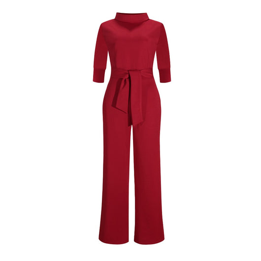 Tilapia new elegant sexy half sleeve women jumpsuits long wide leg pants with pocket playsuits stand collar lady jumpsuit