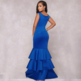 Tilapia new ruffles designs sexy women party dress elegant bodycon handless vestidos maxi long elastic lady patchwork dress