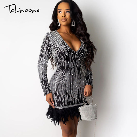 Tobinoone Evening Party Feather Dresses Women Vintage Deep V Neck Long Sleeve Sequins Dress Nightclub Mini Bodycon Dress