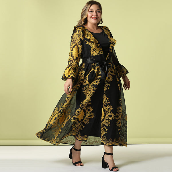 Toleen Plus-Size Dress Women Tracksuit V Neck Embroidery Flare Sleeve Sun Proof Coat Solid Color Jumpsuit Conjunto Feminino 2019