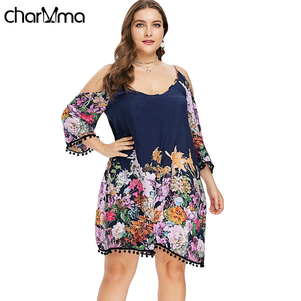Top Dress Plus Size Casual Cold Shoulder Dress Women Clothing Spring  Spaghetti Strap Long Sleeve Dresses Party Dress Vestidos