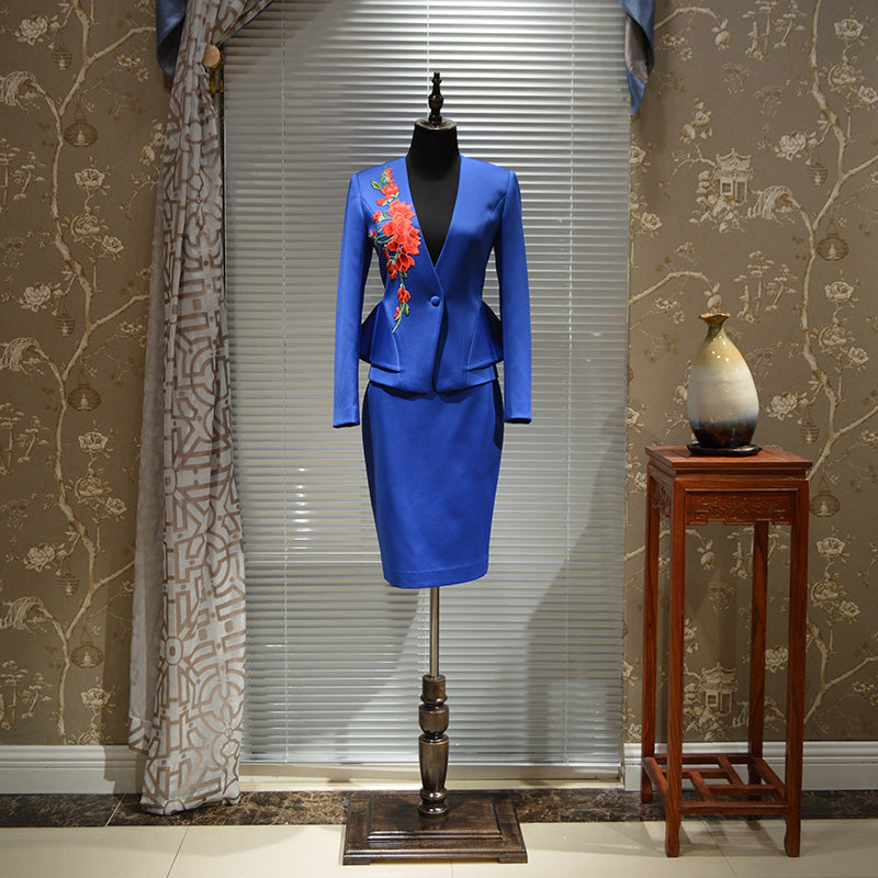 10b68c790 Hover to zoom · Top Grade New Chinese Style Professional Skirt Suit  Embroidery Luxury Designer ...