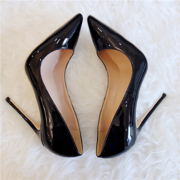 Top High Quality  Women Pumps Pointed Toe Shoes Thin High Heels Wedding Shoes Pump Party Shoe Patent  Leather  Lady 35-39