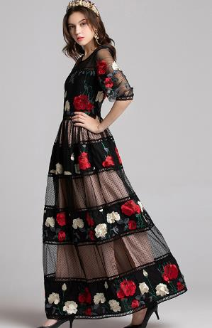 ceb2680f2ae ... Image of Top Quality New 2019 Spring Evening Party Maxi Dress Women  Rose Flower Embroidery Polka