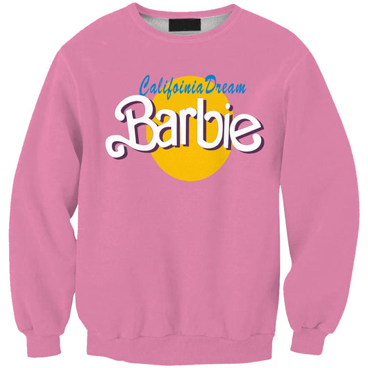 Tracksuits 2015 Fall Men/Women Pullover Pink Hoodies 3D Letter BARBIE Graphic Print Crewneck Sweatshirt Long Sleeve Sweat Shirts