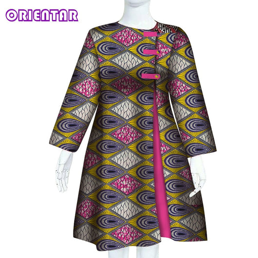 Traditional African Clothing Classic African Dress for Women Long Sleeve African Wax Print Ankara Midi Dress Customized WY6273