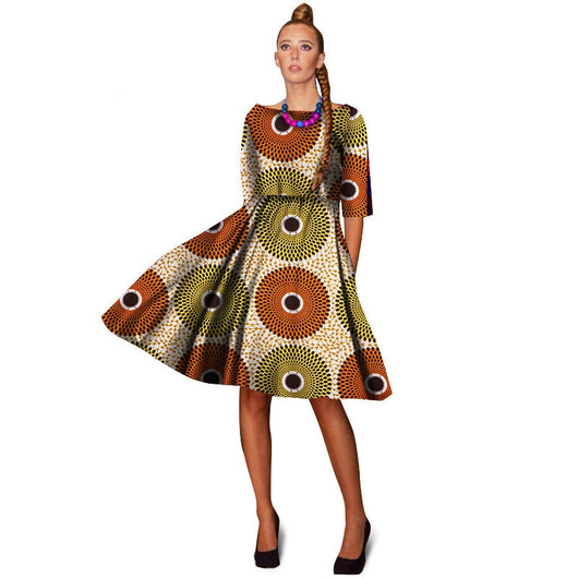 Traditional African Clothing For Women Plus Size Batik Knee Length Ankara  Dresses A-Line African Dress