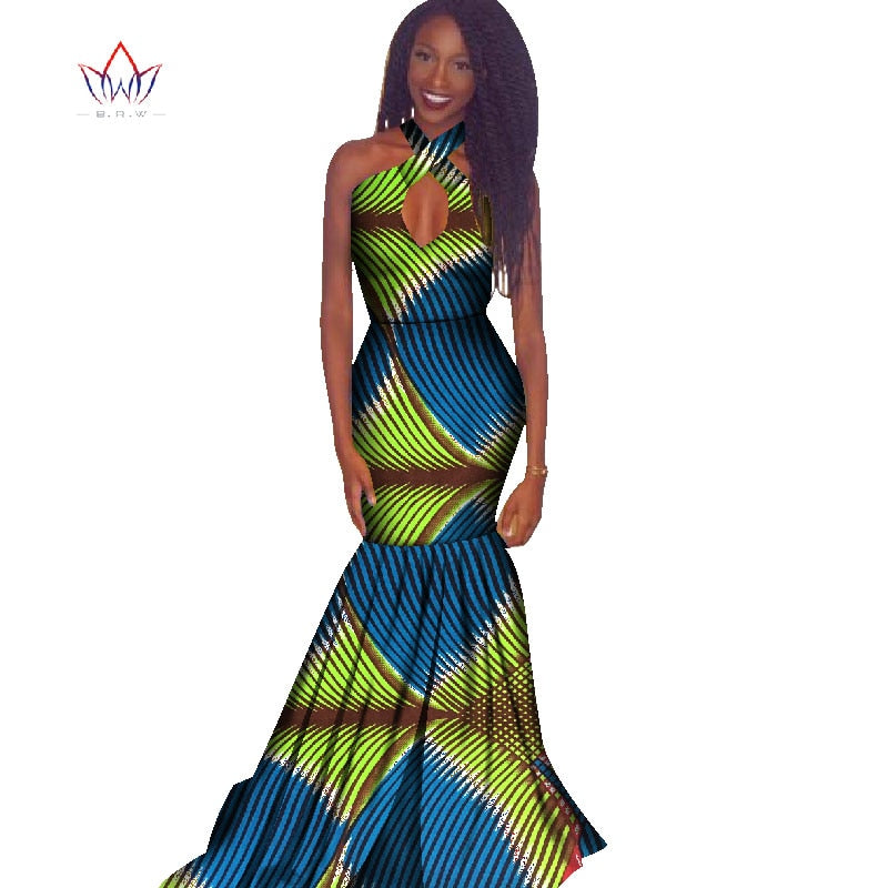 9005cc4dbfb Traditional African Clothing Summer Women Dresses Sleeveless Maxi ...