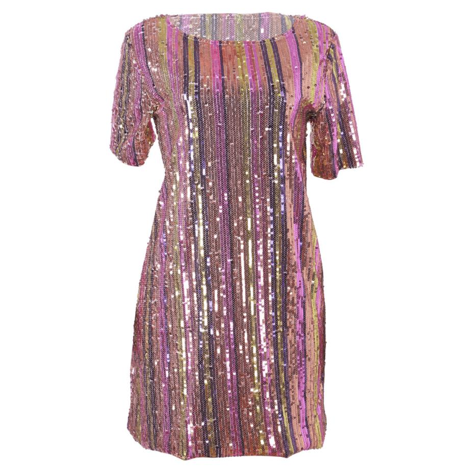 Womens Sparkle Glam Rainbow Striped Sequins Short Sleeve Dress for Party