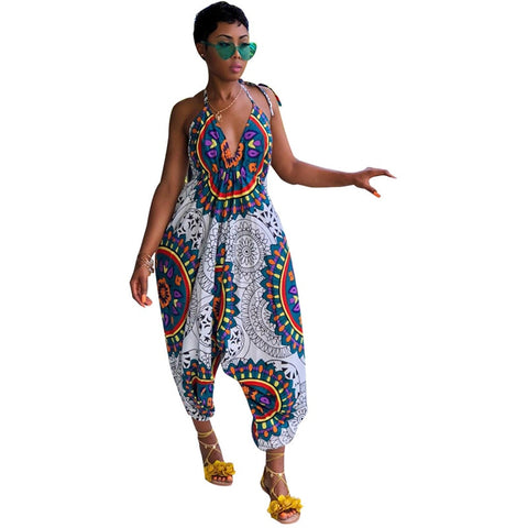 Traditional African Print Jumpsuit Women Indie Folk Dashiki Casual Rompers Backless Halter Loose Baggy Harem Jumpsuit Playsuit