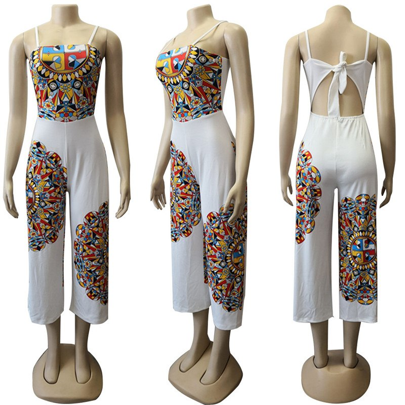 a8797f9893a ... Traditional African Print Jumpsuit Women Sleeveless Bow Tie Up Back  Ethnic Dashiki Sexy Romper Ladies Wide ...