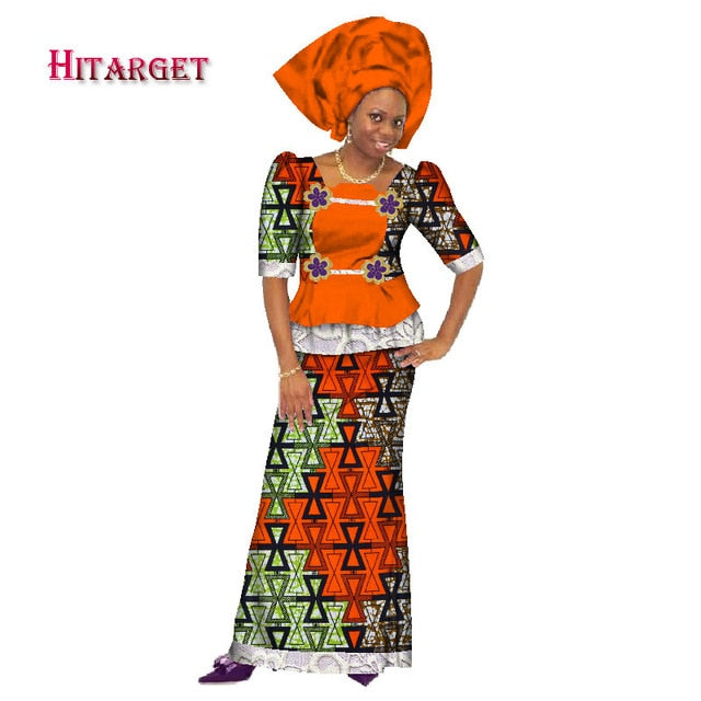 c60ba75c7 Hover to zoom · Traditional Women African Splice Embroidery Tops and Skirt  Sets with Head Scarf ...