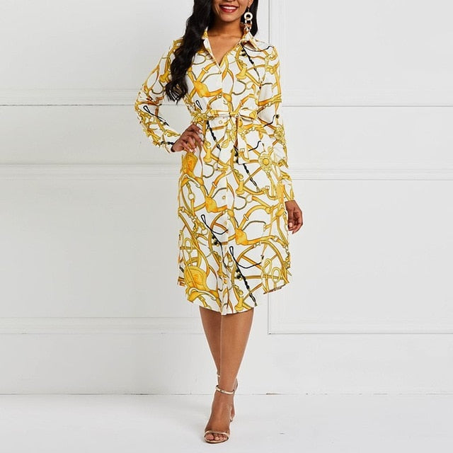 Trend Print Office Dress Women Plus Size Casual Street Spring African  Fashion Yellow Elegant Long Sleeve Shirt Dresses Female