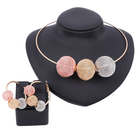Trendy African Beads Choker Necklace Earrings Colorful Dubai Gold Color Jewelry Sets For Women Bridal Party Wedding Accessories