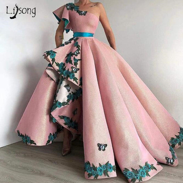 Trendy Long Evening Formal Dress With Appliques 2019 Pink One Shoulder Dubai Celebrity Gowns Long Asymmetrical Custom Prom Gowns