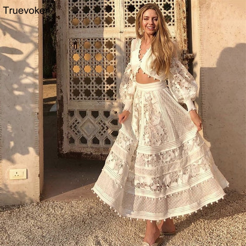 c0da61c99 Image of Truevoker Summer Designer Cotton Long Skirt Women's High Street  Fashion Luxury Embroidery Hollow Out ...