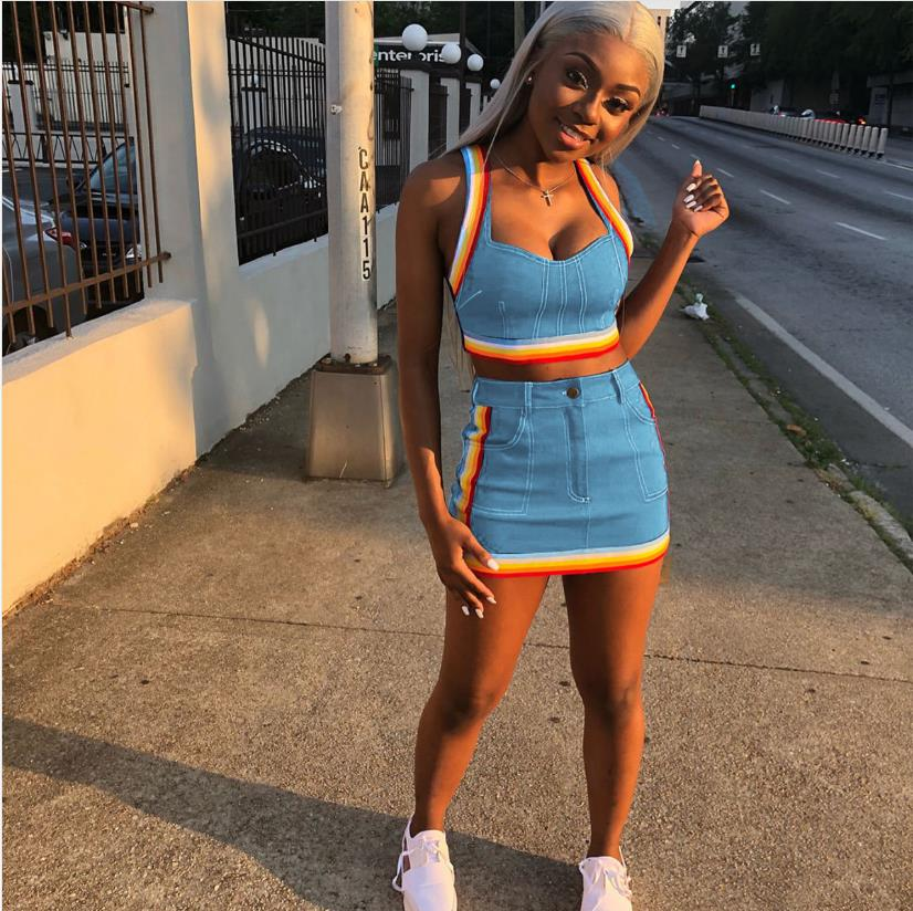 ae763ce7f9 ... women crop tops and Mini Skirts Sets 2pcs Blue Denim outfits. Hover to  zoom