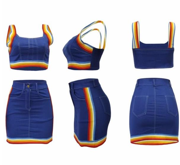 3d18d00ffbd15c Hover to zoom · Two Piece Set 2018 Summer women crop tops and Mini Skirts  Sets 2pcs Blue Denim outfits