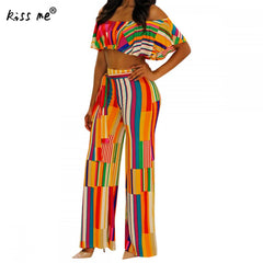 49ad3fbf71218 Two Piece Set Women Summer 2018 Striped Rainbow Ruffle Tube Top and Pants Sexy  Woman Outfit