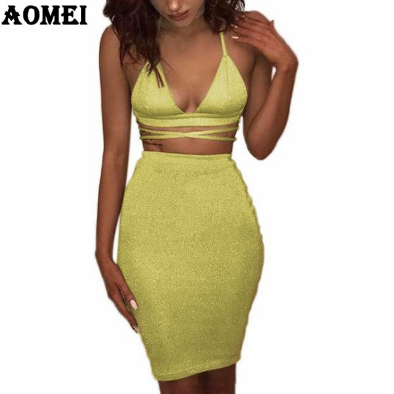f629b0161 Two Piece Sets for Women Sexy Spaghetti Strap Shiny Crop Tops Lace Up Skirts  Suits Clubwear. Hover to zoom