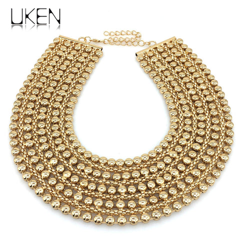 UKEN Metal Beads Chunky Maxi Necklaces For Women 2018 Fashion Choker Collar Statement Necklace Vintage Jewelry Wedding Party