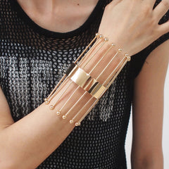 UKMOC Gothic Statement Cuff Bangle Long Strip Weld Metal Geometric Bracelets For Women Fashion Jewelry Accessories 2018