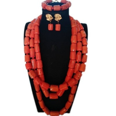 URORU Necklace Set for Wedding 3 Layers Nature Coral Beads Jewelry Set for African Nigerian Bridal 3 Pics Jewellery Set 2018 New